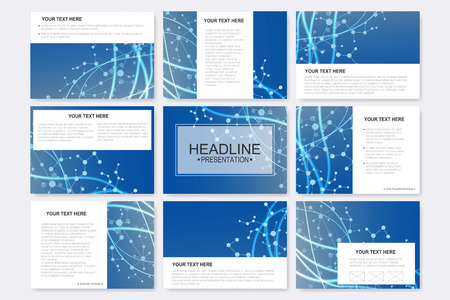 Big set of vector templates for presentation slides. Modern graphic background molecule structure and communication. Medical, science, chemistry, technology design.. 向量圖像