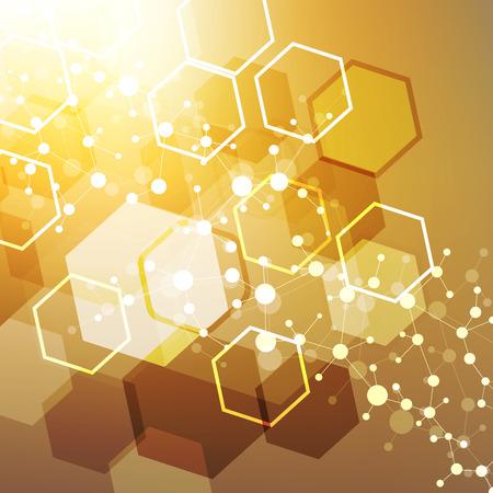 cromosoma: Estructura de la molécula de ADN y la comunicación, átomo, neuronas. Concepto de la ciencia para su diseño. líneas conectadas con puntos. Médico, tecnología, química, ciencia fondo. ilustración vectorial Vectores