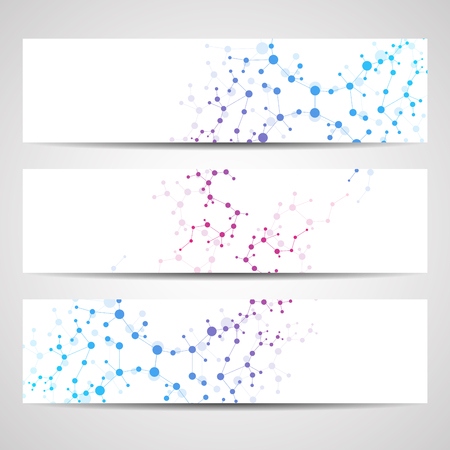 medical abstract: Abstract geometric banners molecule and communication. Science and technology design, structure DNA, chemistry, medical background, business and website. Illustration