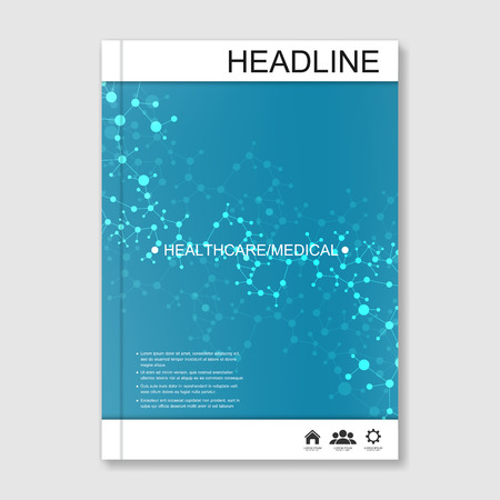 data bases: Science vector background. Modern vector templates for brochure, flyer, cover magazine or report in A4 size. Molecule structure and communication on the blue background..