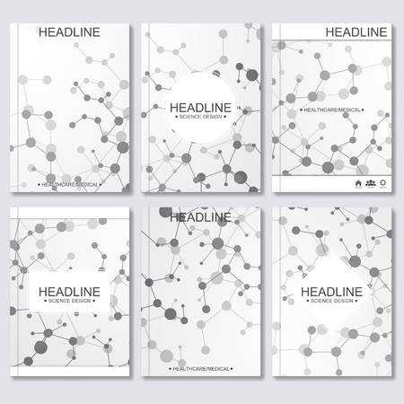 data bases: Modern vector templates for brochure, flyer, cover magazine or report in A4 size. Molecule structure and communication on the blue background..