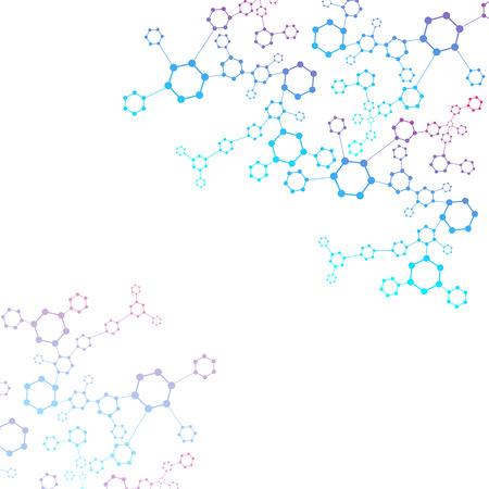 Structure molécule et communication ADN, atome, neurones. Concept de la science pour votre conception. Lignes connectées avec des points. Médical, technologie, chimie, science de fond. Illustration vectorielle