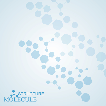 Structure molecule and communication Dna, atom, neurons. Science concept for your design. Connected lines with dots. Medical, technology, chemistry, science background. Vector illustration