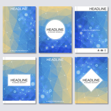 macromolecule: Modern vector templates for brochure, flyer, cover magazine or report in A4 size. Molecule structure and communication on the background..