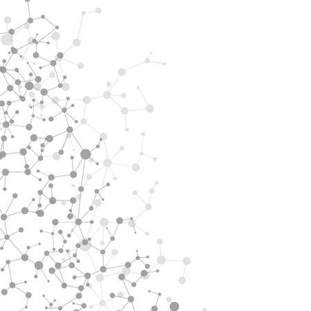 Struktura cząsteczki i komunikacji Dna, atom, neurony. Koncepcja nauki dla swojego projektu. Połączone linie z kropkami. Medycyna, technologia, chemia, zaplecze naukowe. Ilustracja wektorowa