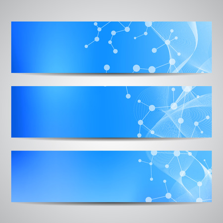Abstract geometric banners molecule and communication. Science and technology design, structure DNA, chemistry, medical background, business and website. Illustration