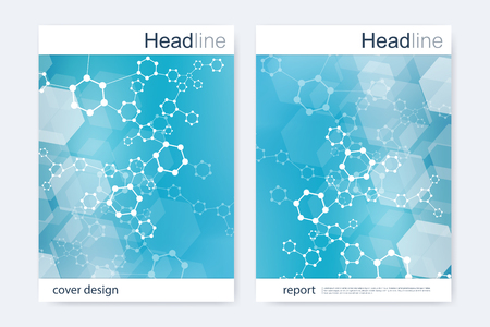 neuroscience: Scientific brochure design template. Vector flyer layout, Molecular structure with connected lines and dots. Scientific pattern atom DNA with elements for magazine, leaflet, cover, poster design.