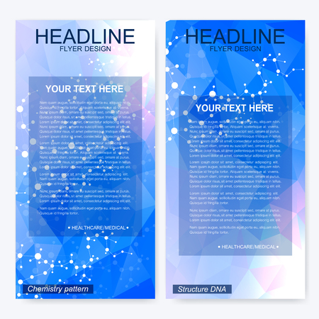 bases: Leaflet flyer layout. Magazine cover corporate identity template. Science and technology design, structure DNA, chemistry, medical background, business and website templates. Vector illustration Illustration