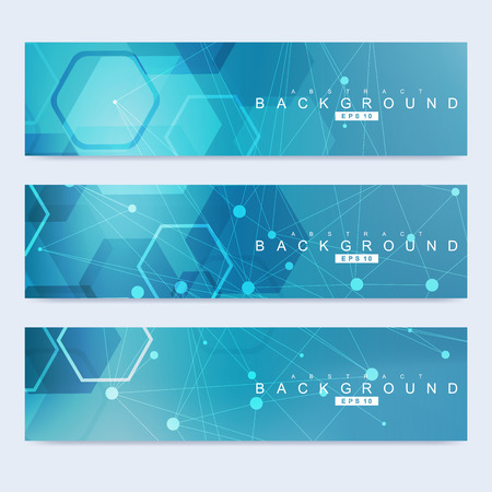 science scientific: Scientific set of modern banners. DNA molecule structure with connected lines and dots. Science background. Illustration