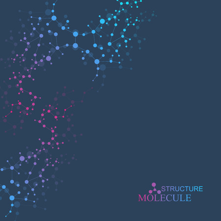 cloning: Structure molecule and communication. Dna, atom, neurons. Scientific concept for your design. Connected lines with dots. Medical, technology, chemistry, science background. Vector illustration.
