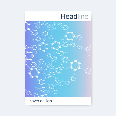 neuronal: Scientific brochure design template. Vector flyer layout, Molecular structure with connected lines and dots. Scientific pattern atom DNA with elements for magazine, leaflet, cover, poster design.