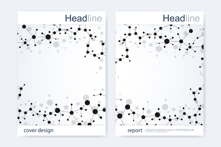 neutrons: Scientific brochure design template. Vector flyer layout, Molecular structure with connected lines and dots. Scientific pattern atom DNA with elements for magazine, leaflet, cover, poster design.