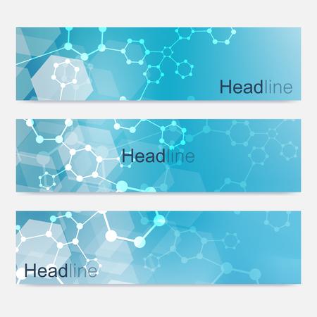 Scientific set of modern vector banners.