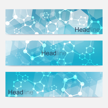 Scientific set of modern banners. DNA molecule structure with connected lines and dots. Science background. Medical, tecnology, chemistry design.