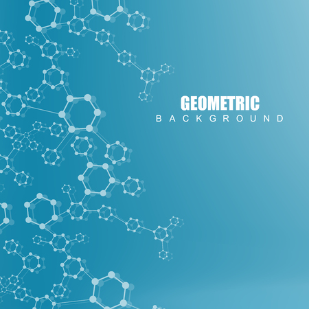 data bases: Geometric abstract background with connected line and dots. Structure molecule and communication. Scientific concept for your design.