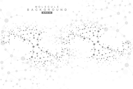 data bases: Structure molecule and communication. Dna, atom, neurons. Scientific concept for your design. Connected lines with dots. Medical, technology, chemistry, science background. Vector illustration.