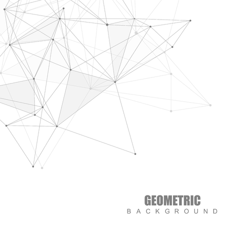data bases: Geometric abstract background with connected line and dots. Structure molecule and communication.