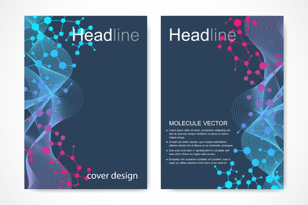 tecnology: Scientific brochure design template. Vector flyer layout, Molecular structure with connected lines and dots. Scientific pattern atom DNA with elements for magazine, leaflet, cover, poster design.