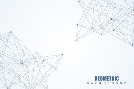 data bases: Geometric abstract background with connected line and dots. Structure molecule and communication. Scientific concept for your design. Medical, technology, science background. Vector illustration.