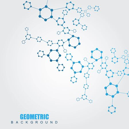 Geometric abstract background with connected line and dots. Structure molecule and communication.