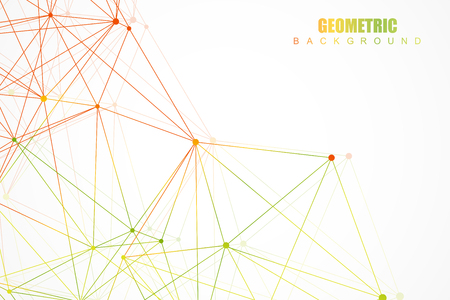 macromolecule: Geometric abstract background with connected line and dots. Structure molecule and communication. Scientific concept for your design. Medical, technology, science background. Vector illustration
