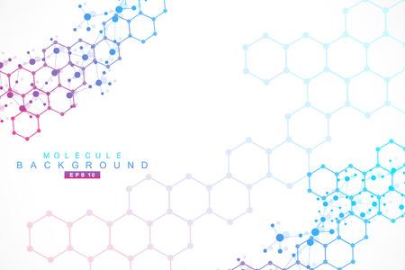 구조 분자 및 통신. DNA, 원자, 뉴런. 디자인을위한 과학적 개념입니다. 점선으로 연결된 선. 의료, 기술, 화학, 과학 배경. 벡터 일러스트 레이 션.
