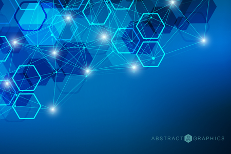 Geometric abstract background with connected line and dots. Structure molecule and communication. Big data visualization. Medical, technology, science background. Vector illustration. Illustration