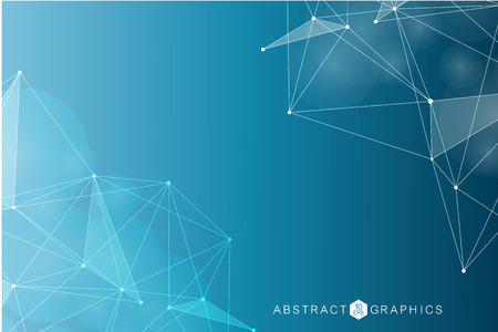 Geometric abstract background with connected line and dots. Structure molecule and communication. Big data visualization. Medical, technology, science background. Vector illustration. Çizim