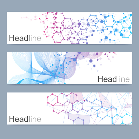 Scientific set of modern vector banners. DNA molecule structure with connected lines and dots. Science vector background. Medical, technology, chemistry design.