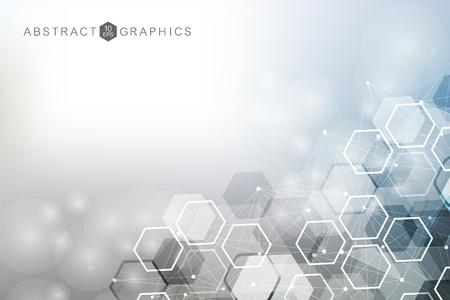 Fondo abstracto geométrico con línea conectada y puntos. Estructura de la molécula y comunicación. Visualización de big data. Medicina, tecnología, ciencia de fondo. Ilustración vectorial