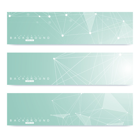 Scientific set of modern vector banners. DNA molecule structure with connected lines and dots. Science vector background. Medical, tecnology, chemistry design Illusztráció