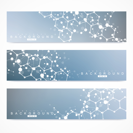 Scientific set of modern vector banners. DNA molecule structure with connected lines and dots. Science vector background. Medical, tecnology, chemistry design 向量圖像