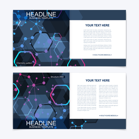 Scientific templates square brochure, magazine, leaflet, flyer, cover, booklet, annual report. Scientific concept for medical, technology, chemistry. Structure molecule and communication. Dna, atom.
