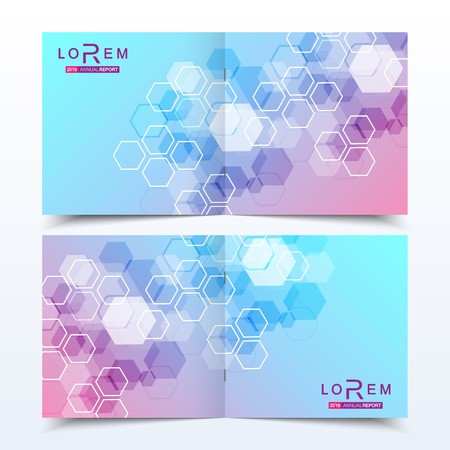 Scientific templates square brochure, magazine, leaflet , flyer, cover, booklet, annual report. Scientific concept for medical, technology, chemistry. Structure molecule and communication. Dna, atom.