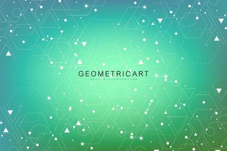 Science network pattern, connecting lines and dots. Modern futuristic virtual abstract background molecule structure for medical, technology, chemistry, science. Scientific hexagonal vector.