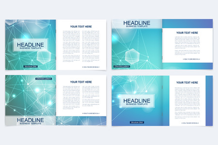 Scientific templates square brochure, magazine, leaflet , flyer, cover, booklet, annual report. Scientific concept for medical, technology, chemistry. Structure molecule and communication.