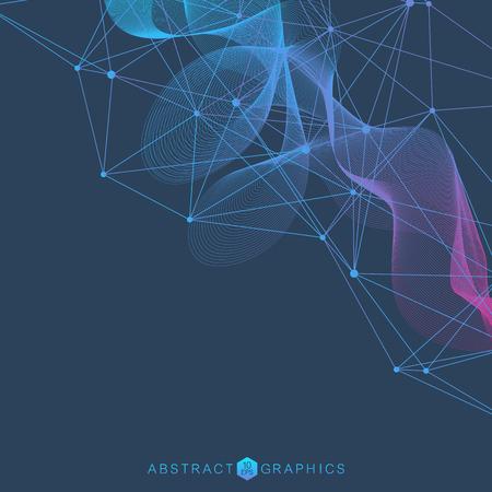 Fondo abstracto geométrico con puntos y líneas conectadas. Estructura de la molécula y la comunicación. Concepto científico para su diseño. Medicina, tecnología, formación científica. Ilustración vectorial.