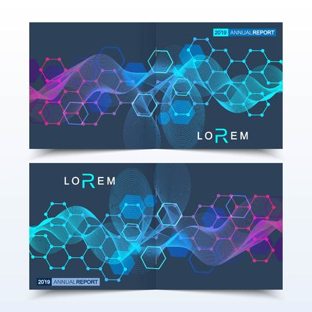 Scientific templates square brochure, magazine, leaflet , flyer, cover, booklet, annual report. Scientific concept for medical, technology, chemistry Structure molecule and communication Dna atom Illustration