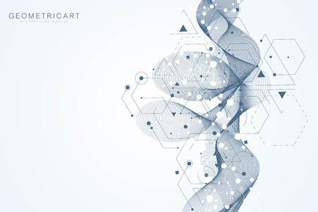 Contexte futuriste moderne du motif hexagonal scientifique. Arrière-plan abstrait virtuel avec particule, structure moléculaire pour la médecine, la technologie, la chimie, la science. Flux de vague Vecteurs