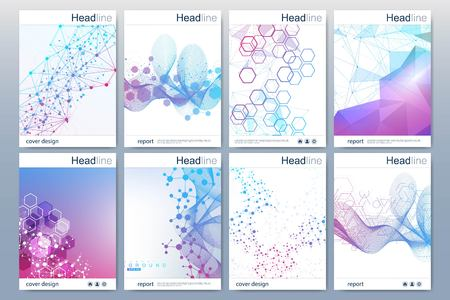 Business templates brochure, magazine, leaflet , flyer, cover, booklet, annual report. Scientific concept for medical, technology chemistry Hexagonal molecule structure Dna atom neurons.