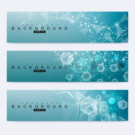 Scientific set of modern vector banners. DNA molecule structure with connected lines and dots. Science vector background. Medical, tecnology, chemistry design. Ilustração Vetorial