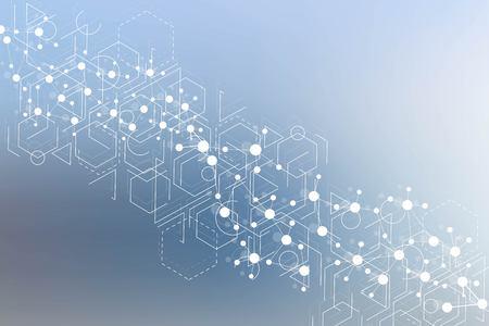 Struktura cząsteczki i komunikacja. DNA, atom, neurony. Koncepcja naukowa dla Twojego projektu. Połączone linie z kropkami. Medycyna, technologia, chemia, zaplecze naukowe. Ilustracja wektorowa