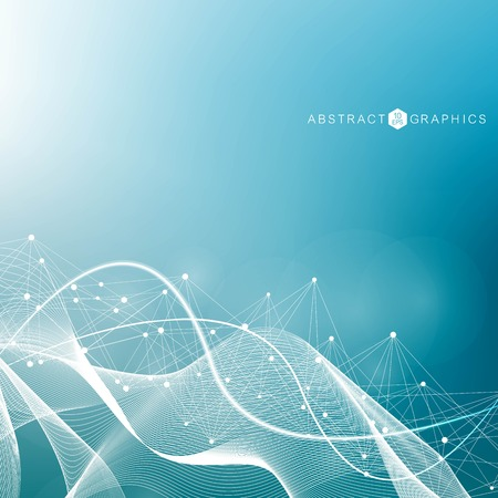 Geometric abstract background with connected line and dots. Scientific concept for your design. Global cryptocurrency blockchain business banner concept. Vector illustration.