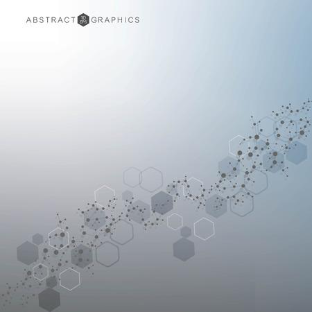 Zeshoekige abstracte achtergrond. Big data visualisatie. Wereldwijde netwerkverbinding. Medisch, technologie, wetenschappelijke achtergrond. Vector illustratie.