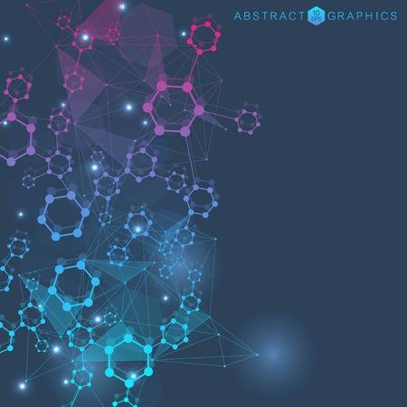 Fondo abstracto geométrico con línea conectada y puntos. Estructura de la molécula y la comunicación. Concepto científico para su diseño. Médico, tecnología, formación científica. Ilustración vectorial