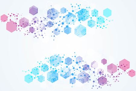 Hexagonal abstract background. Big Data Visualization. Global network connection. Medical, technology, science background. Vector illustration Stock fotó - 109442031