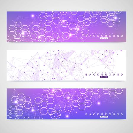 Scientific set of modern vector banners. DNA molecule structure with connected lines and dots. Science vector background. Medical, tecnology, chemistry design Illustration
