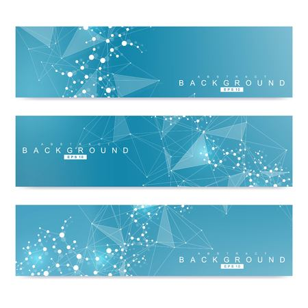 Scientific set of modern vector banners. DNA molecule structure with connected lines and dots. Scientific and technology concept. Wave flow graphic background for your design. Vector illustration