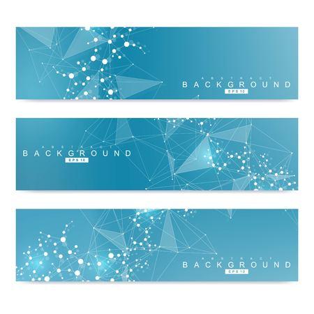 Set scientifico di moderni banner vettoriali. Struttura della molecola del DNA con linee e punti collegati. Concetto scientifico e tecnologico. Sfondo grafico di flusso d'onda per il tuo design. Illustrazione vettoriale