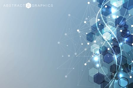 Modern futuristic background of the scientific hexagonal pattern. Virtual abstract background with particle, molecule structure for medical, technology, chemistry, science. Social network vector. Vectores